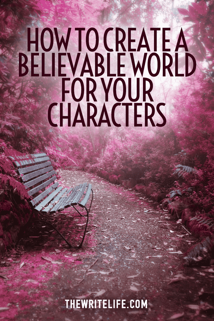 Bench in a purple park, text about creating a believable world