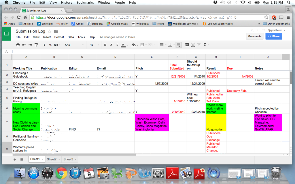 track your pitches use this spreadsheet to land more online  tracking lance writing pitches