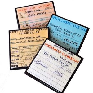 Fun, colorful coasters based on vintage library book check out cards