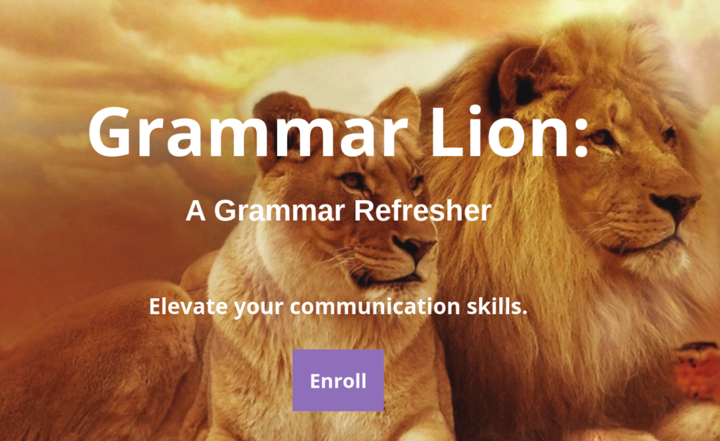 Lion image behind A Grammar Refresher