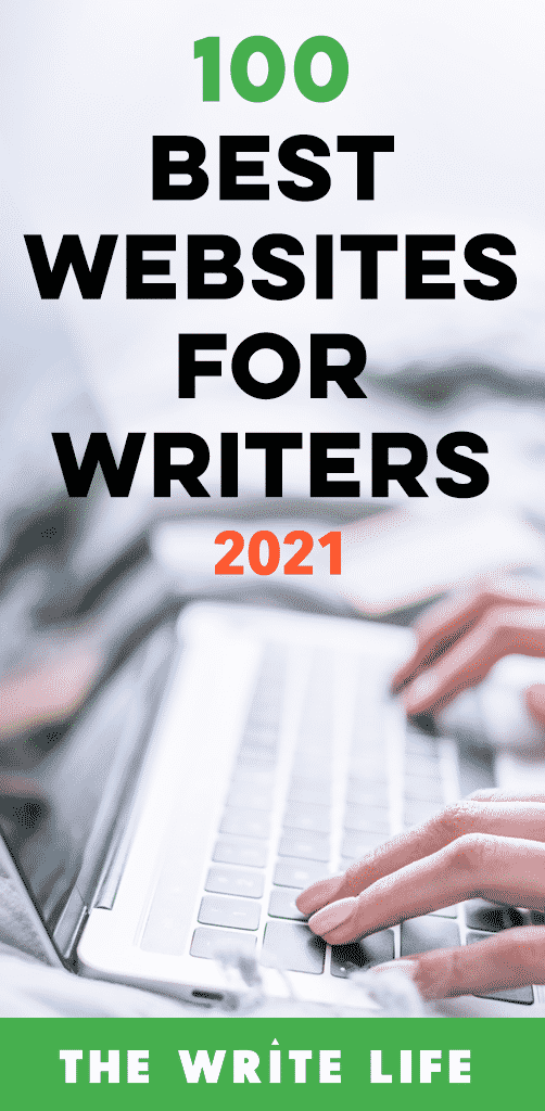 "Image featuring the words ""100 best websites for writers 2021"" over a picture of someone typing on a keyboard"